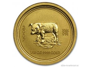 Investiční zlatá mince rok Vepře 2007 1/10 Oz