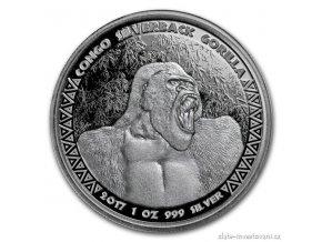 5711 investicni stribrna mince gorila 2017 kongo 1 oz