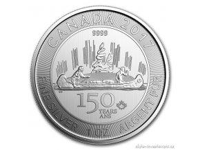 Stříbrná mince Voyageur 2017-Canada 150. výročí 1 Oz