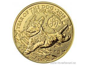 Investiční zlatá mince lunární rok Psa 2018- British Royal Mint 1 Oz