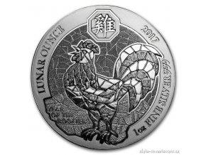 5822 stribrna mince rok kohouta 2017 rwanda 1 oz
