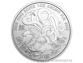 Stříbrná mince rok kohouta 2017-Kanada 1 Oz