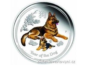 5870 investicni stribrna mince rok psa 2018 lunarni serie ii proof kolor 1 oz