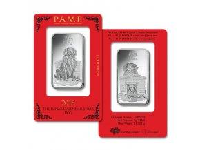 Investiční stříbrný slitek rok Psa 2018-PAMP Švýcarsko 1 Oz