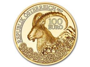 Zlatá mince 100 Eur-Kozoroh-rakouská série Wild life 2017