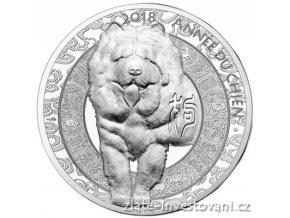 Stříbrná mince lunární série Pes 2018-Francie - proof vysoký reliéf 1 Oz