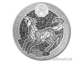 5954 stribrna mince rok psa 2018 rwanda 1 oz