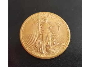 5990 investicni zlata mince americky double eagle 1908 saint gaudens double eagle