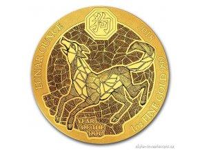 Investiční zlatá  mince rok psa 2018-Rwanda 1 Oz