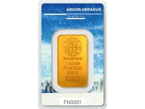 6188 investicni zlata cihla argor heraeus zima limitovana edice svycarsko 1 oz