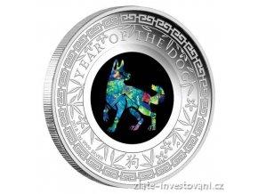 Stříbrná mince rok psa s opálem -2018 1 Oz