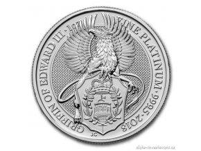 6239 investicni platinova mince griffin kralovny anglie 2018 heraldicka serie 1 oz