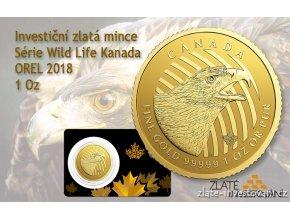 6275 investicni zlata mince orel 2018 serie wild life kanada 1 oz