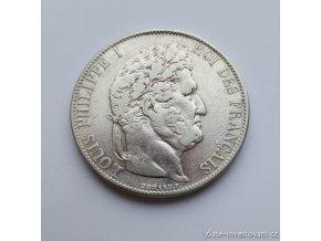 6296 stribrny francouzsky 5 frank ludvik filip 1844
