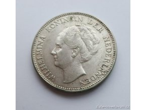 6302 stribrny 1 gulden wilhelmina nizozemi