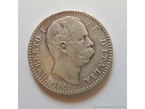 6407 stribrna italska 2 lira umberto i 1881