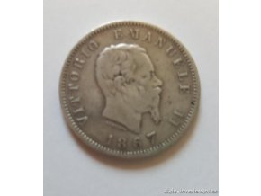 6422 stribrna italska 1 lira vittorio emanuele ii 1867