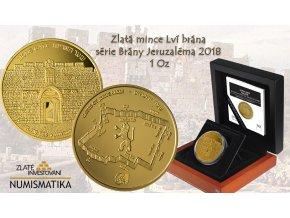 Zlatá mince Lví brána -série Brány Jeruzaléma 2018 1 Oz