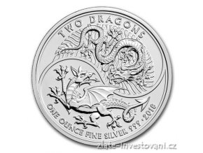 6524 stribrna investicni mince dva draci 2018 velka britanie 1 oz
