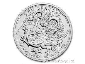 Stříbrná investiční mince Dva draci 2018-Velká Británie 1 Oz