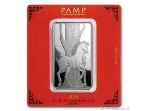 Investiční stříbrný slitek rok Koně  2014-PAMP Švýcarsko 100g
