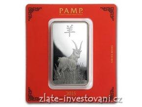 Investiční stříbrný slitek rok Kozy 2015-PAMP Švýcarsko 100g