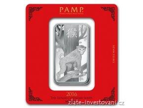 Investiční stříbrný slitek rok Opice 2016-PAMP Švýcarsko 100g