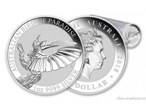6641 stribrna investicni mince bird od paradise 2018 rajka 1 oz