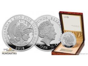 6656 stribrna mince britannia 2018 silver proof 1 kg