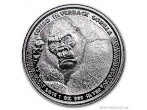 6665 investicni stribrna mince gorila 2018 kongo 1 oz