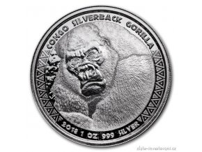 Investiční stříbrná mince Gorila 2018-Kongo 1 Oz