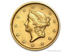 6719 zlata mince 1 dollar liberty 1849 1854