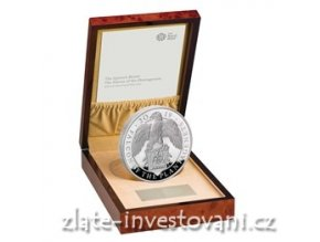 6743 stribrna mince queen s beasts sokol kralovny anglie 2019 silver proof 1 kg