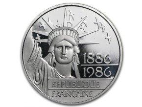Stříbrná mince francouzský 100 frank 1986-Socha svobody
