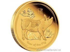 Investiční zlatá mince rok Vepře 2019 proof 1/4 Oz