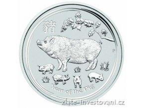 Investiční stříbrná  mince rok Vepře 2019 2 Oz