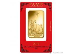 Investiční zlatá cihla PAMP Rok vepře 2019 1 Oz