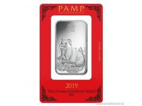 Investiční stříbrný slitek rok Vepře 2019-PAMP Švýcarsko 1 Oz