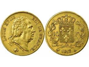 Zlatý francouzský čtyřicetifrank Ludvík XVIII.