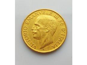 Zlatá mince 100 lir Vittorio Emanuele III.-1922-1923
