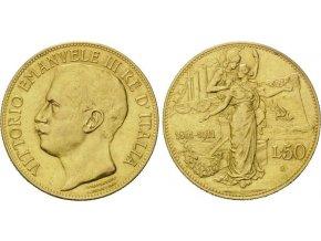 Zlatá 50 lira 1911-Vittorio Emanuelle III.