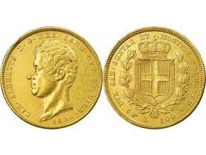 Zlatá mince král Carlo Alberto-Sardinie 100 lira 1832-1842