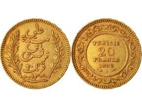 Zlatá mince tuniský 20 frank-1903- 1906