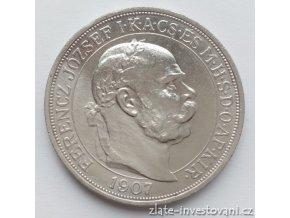 Stříbrná 5 koruna Františka Josefa I.-40.let korunovace 1907