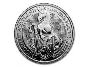 Investiční platinová mince Unicorn královny Anglie 2019-heraldická série 1 Oz