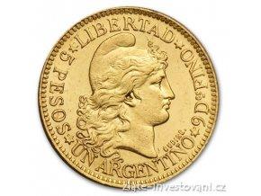 Zlatá mince 5 pesos Argentina 1881-1896