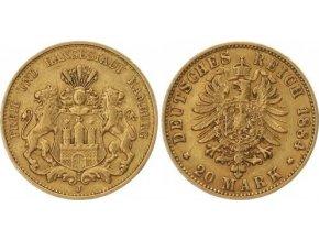Zlatá německá  20 marka-hanzovní město Hamburg