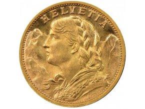 Investiční zlatá mince švýcarský 20 frank-Vrenelli 1898
