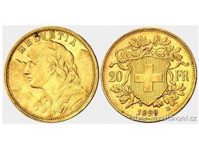 Investiční zlatá mince švýcarský 20 frank-Vrenelli 1899