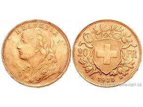 Investiční zlatá mince švýcarský 20 frank-Vrenelli 1935